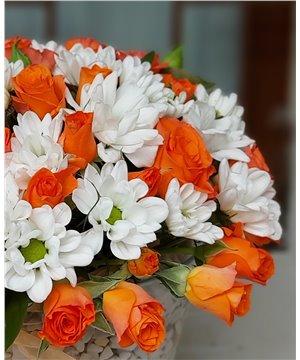 Turuncu Güller ve Papatyalar