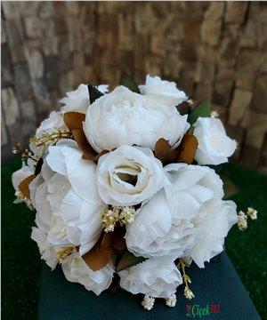 Yapay Şakayık ve Güllerden Gelin Buketi/Beyaz