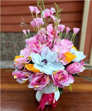 Ayaklı Seramik Yapay Karma Çiçekler
